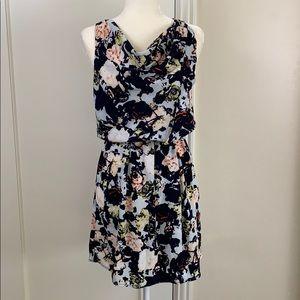 Gap watercolor floral cowl neck mini dress